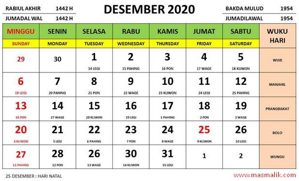 kalender 2020, desember 2020