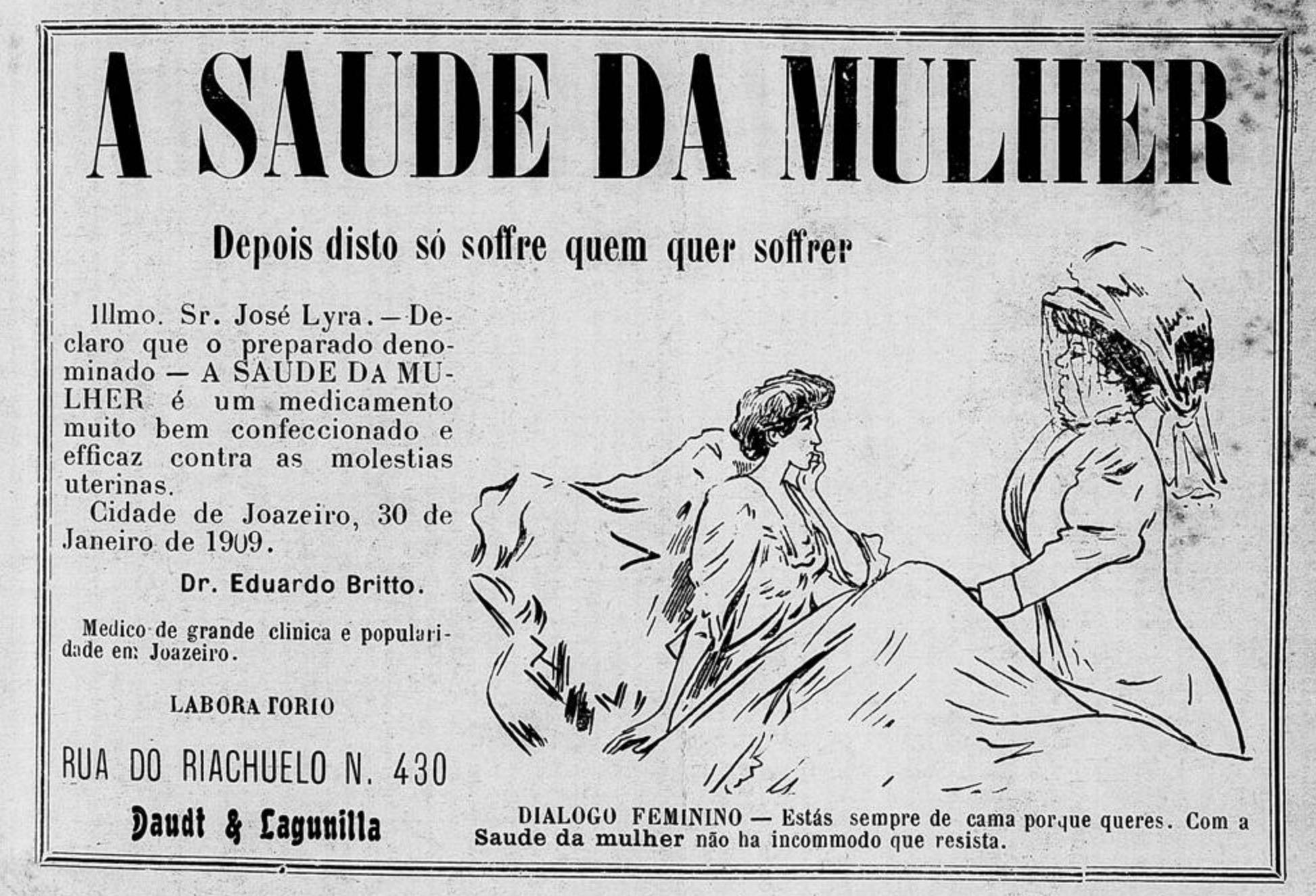 Propaganda antiga do medicamento Saúde da Mulher veiculada em 1910