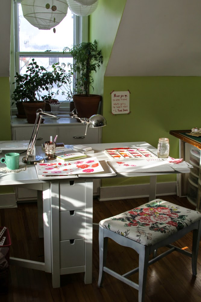 watercolor, painting table, studio, art space