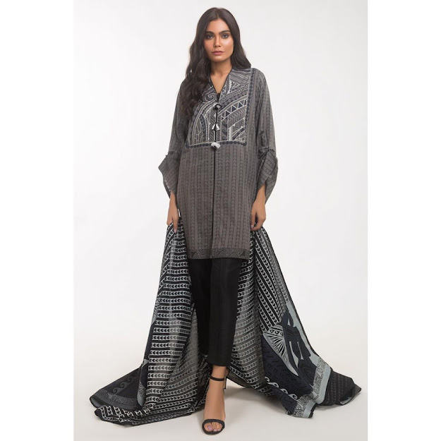 Gul Ahmed grey color suits ready to wear solids collection