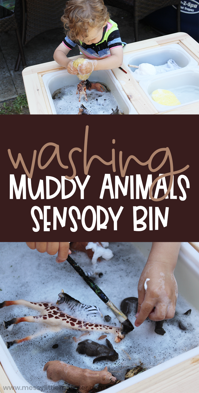 Zoo animal sensory bin for toddlers. Washing animals water sensory play. Animal activities for toddlers.