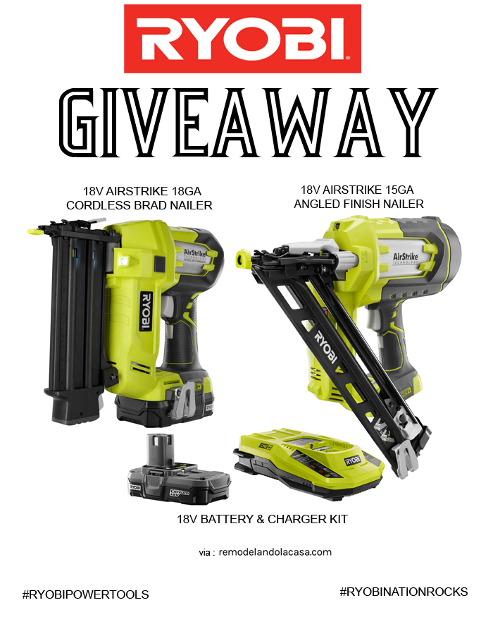 giveaway for Ryobi nailers
