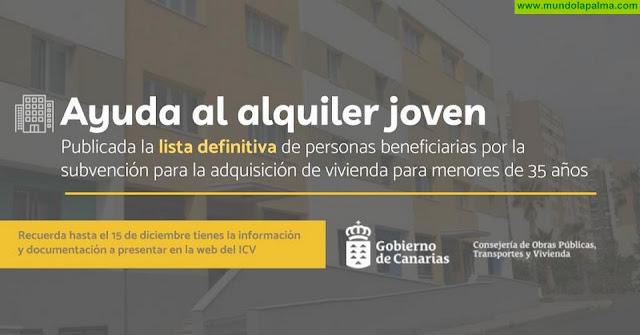 El Instituto Canario de la Vivienda concede la ayuda al alquiler a 1.067 jóvenes canarios