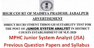 MPHC Junior System Analyst (JSA) Previous Question Papers and Syllabus 2020