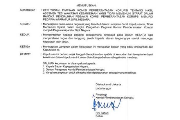 Beredar Surat 75 Pegawai KPK Diminta Lepas Tanggung Jawab, Diteken Firli Bahuri