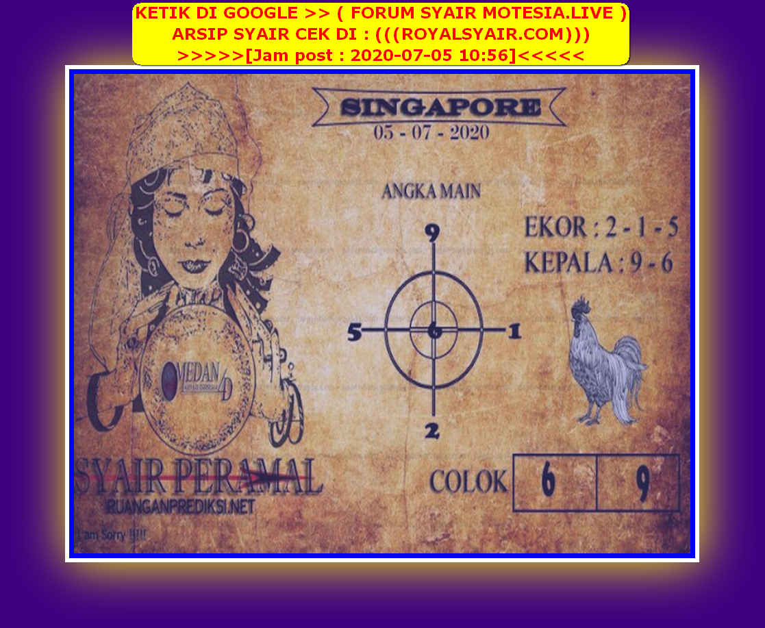 Kode syair Singapore Minggu 5 Juli 2020 141