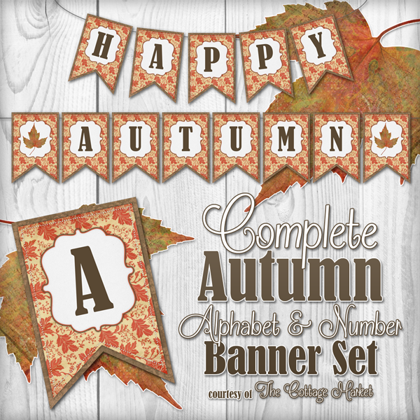 The complete autumn alphabet and number banner set is a special Cottage Market project that makes a pretty fall banner for your home