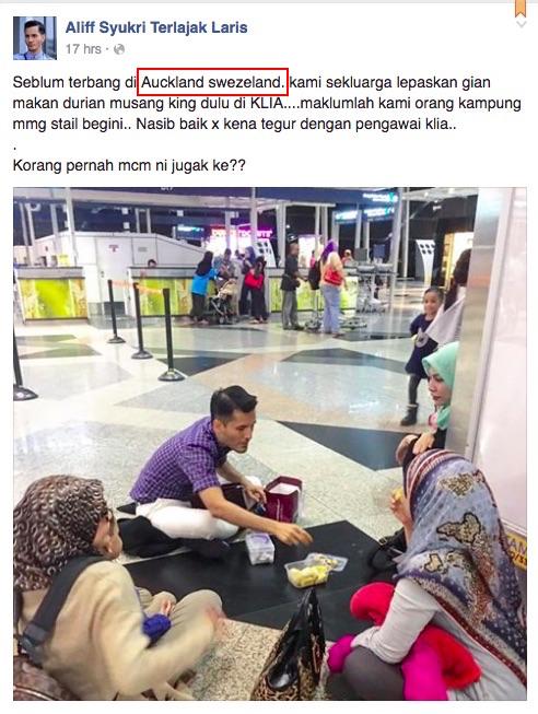 Aliff Sukri makan durian di KLIA jadi bahan kritikan