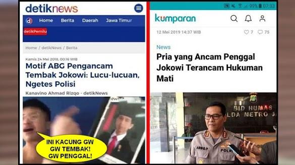Beda Nasib Pengancam Jokowi, Satu Dianggap Lucu-lucuan, Yang Lain Terancam Hukuman Mati