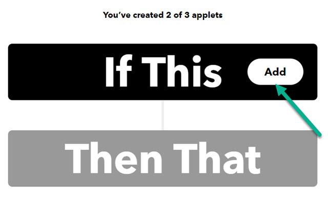 creare applet in IFTTT