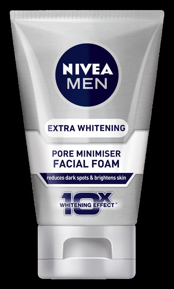 Pencuci muka lelaki Nivea men extra whitening pore minimiser facial foam