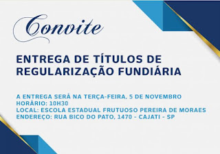 Cajati realiza evento para a entrega de mais de 100 títulos de legitimação fundiária na próxima terça-feira