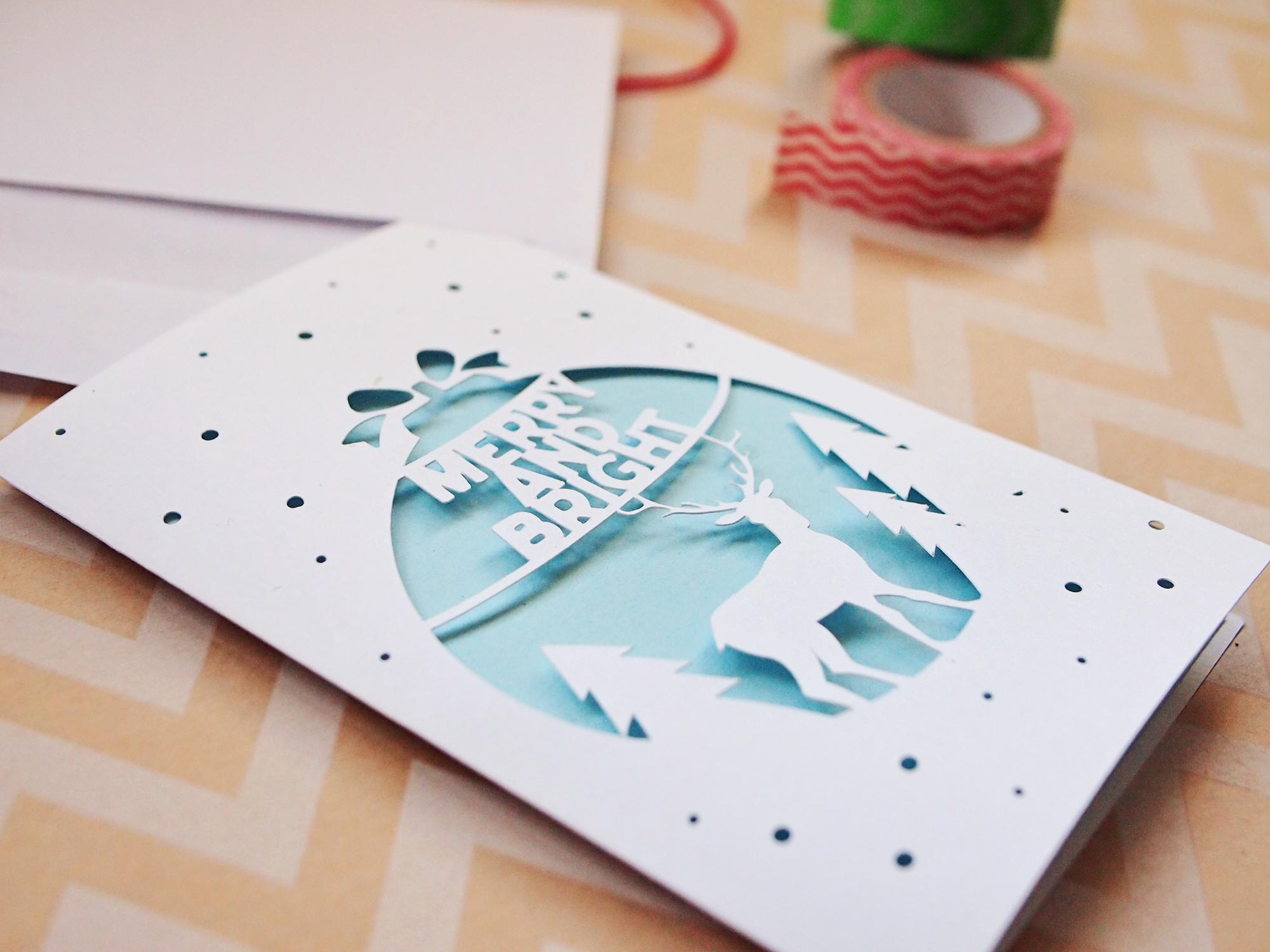 DIY Paper Cutout Christmas Holiday Cards