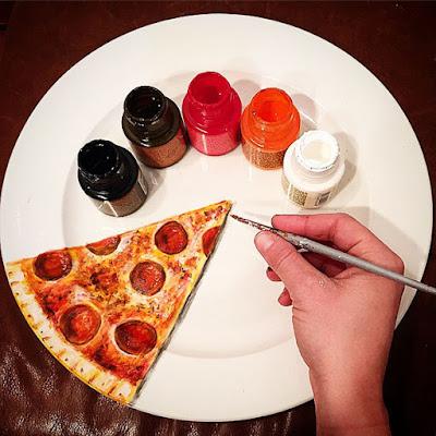 Pintura de una pizza en un plato