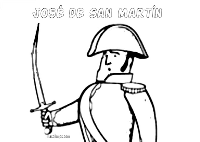 Dibujo de San Martín en batalla para colorear