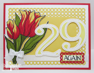 Our Daily Bread Designs Stamp Set: Tulips, Celebration, Custom Dies: Large Numbers, Tulip, Circle Scalloped Rectangles, Pierced Rectangles