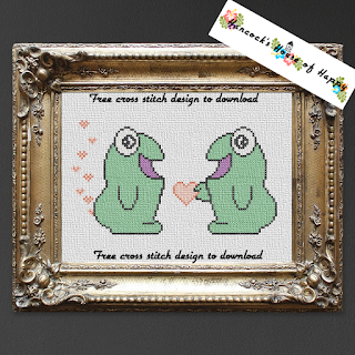 free monster cross stitch pattern featuring two kawaii monsters in love