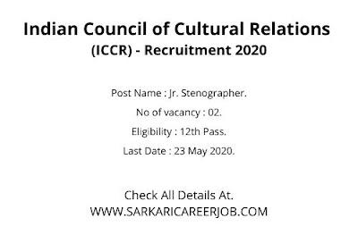 ICCR Recruitment 2020 Apply Online | 02 Posts latest Govt Jobs 2020.