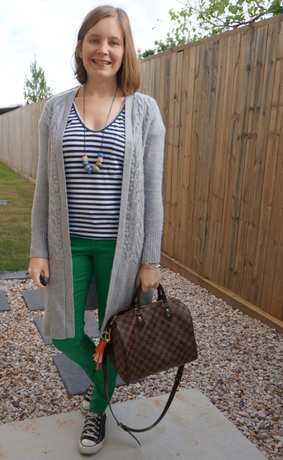 wool maxi cardigan with green skinny jeans navy stripe tee converse LV speedy bag messy play mum style | awayfromblue
