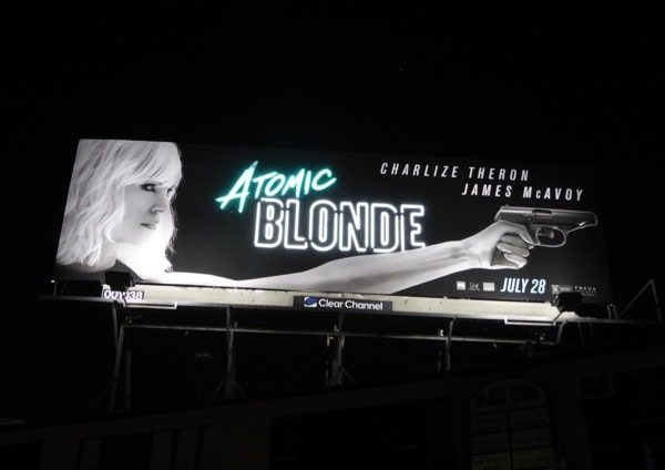Atomic Blonde neon sign billboard at night