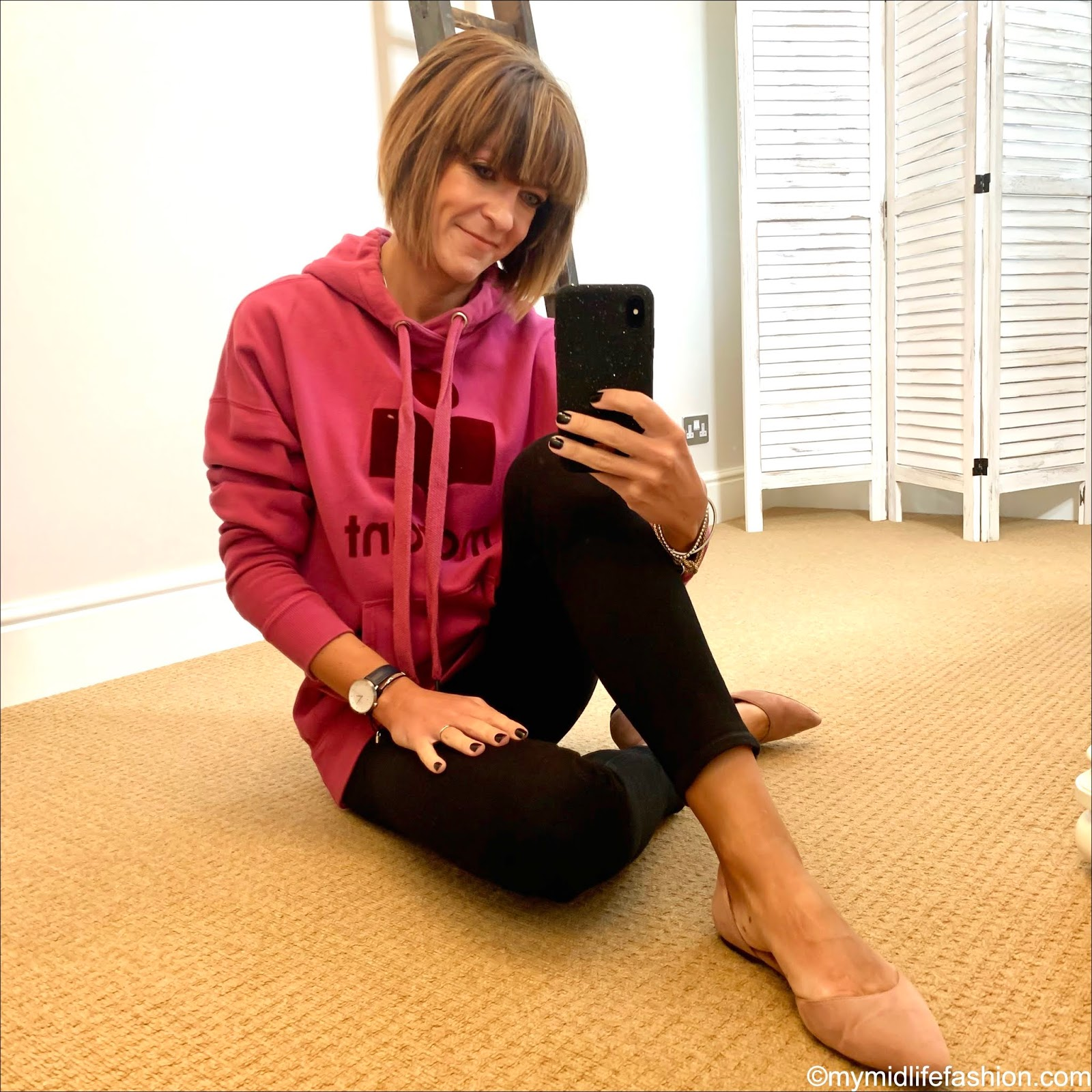 my midlife fashion, Isabel Marant Etoile hooded sweatshirt, h and m pointed ballet pumps, j crew 8 stretchy toothpick jean in true black