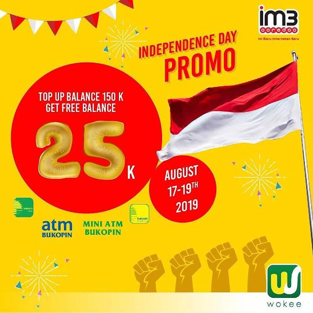 #Wokee - #Promo Independence Day TopUp Indosat 150K Free 25K (17 - 19 Agustus 2019)