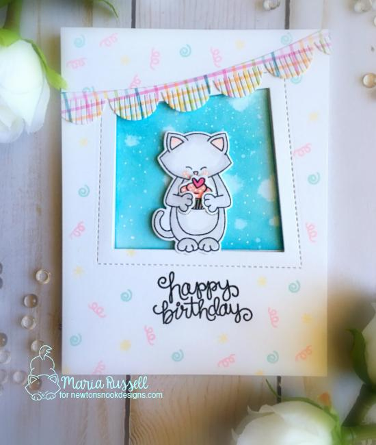 Birthday kitty Cupcake Card by Maria Russell | Sending Hugs Stamp Set by Newton's Nook Designs #newtonsnook #handmade