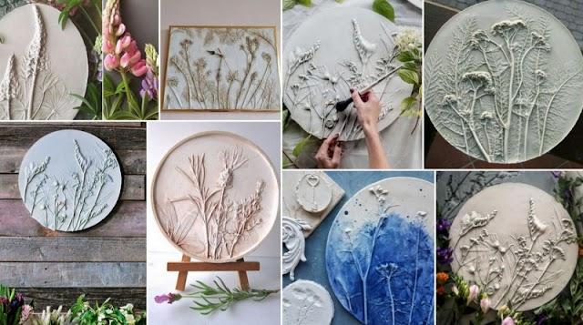 Ανάγλυφα διακοσμητικά τοίχου με Γύψο & Φυσικά Λουλούδια