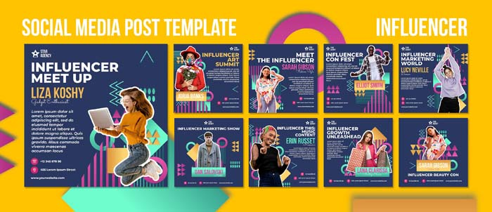 Influencer Instagram Posts Template With Photo