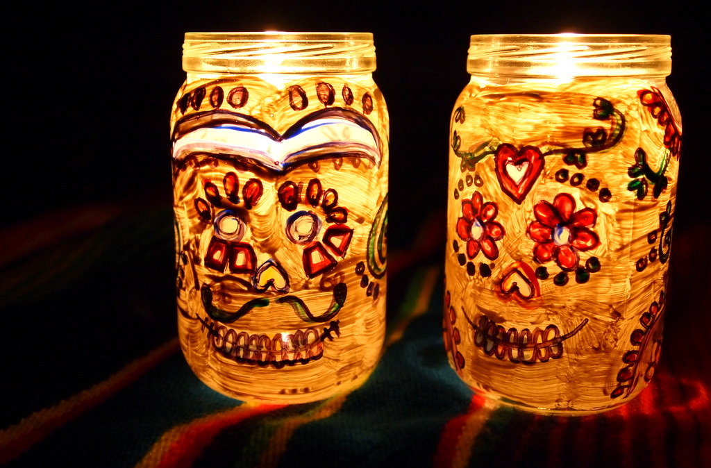 Crapty Fridays Day Of The Dead Candle Holders Out Of Baby Food Jars