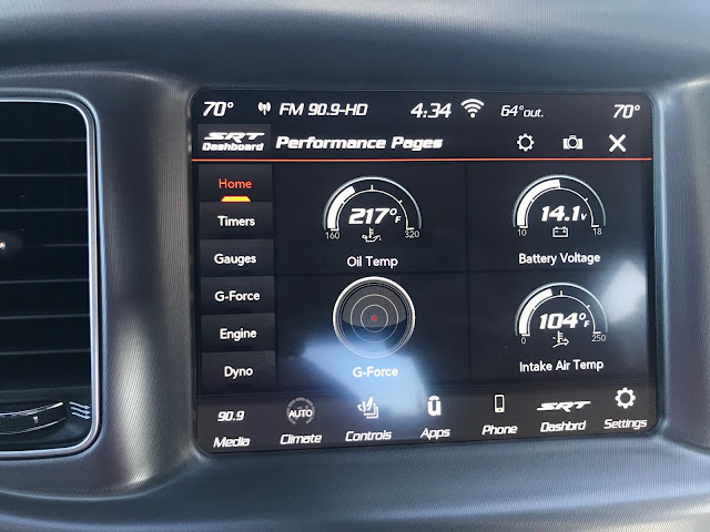 Performance display in 2020 Dodge Charger R/T Scat Pack Plus