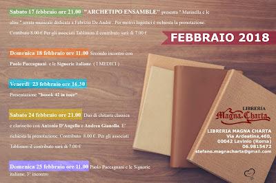 Appuntamenti febbraio Libreria Magna Charta