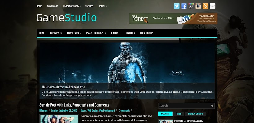 GameStudio Free Blogger Template
