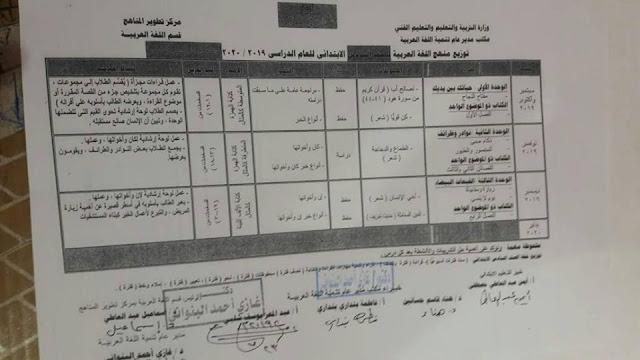 توزيع منهج اللغة العربية للصف السادس الابتدائي لعام 2021