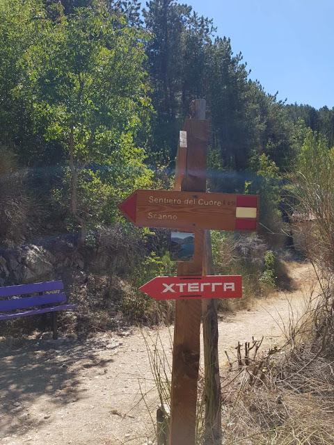 Indicazioni lungo il sentiero del cuore-Lago di Scanno a forma di cuore