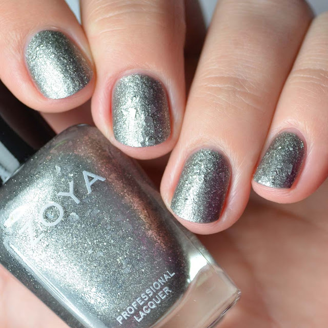 silver textured matte nail polish