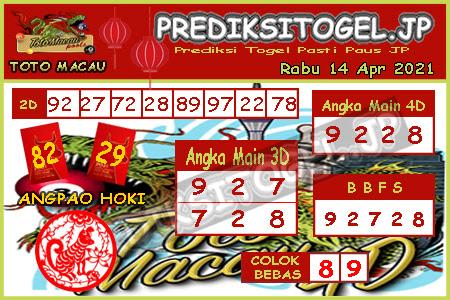 Prediksi Togel Toto Macau JP Rabu 14 April 2021