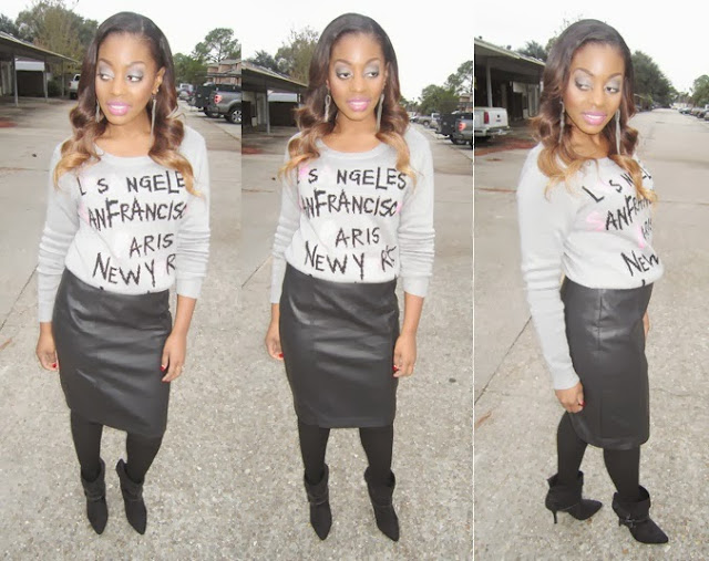 pretty rebellious global cities knit sweater worthington faux leather pencil skirt george tights rampage kosmo ankle boots booties cover girl divine