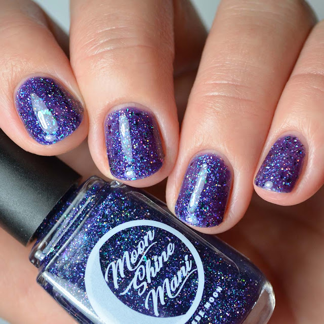 purple glitter nail polish four finger swatch