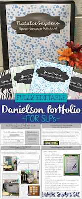 Fully editable and customizable Danielson evaluation portfolio for school SLPs