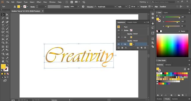 Golden Text Effect in Adobe Illustrator