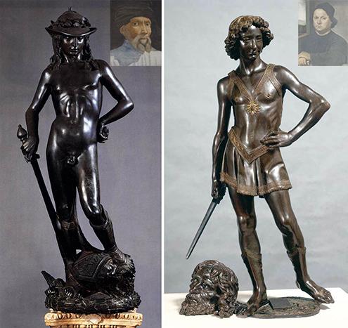 Comparativa de las dos esculturas de El David de Donatello y Verroquio, respectivamente