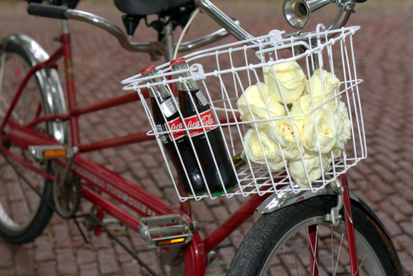This tandem bike with fresh roses and Coca-Cola bottles in the basket is cute for an engagement photo shoot.