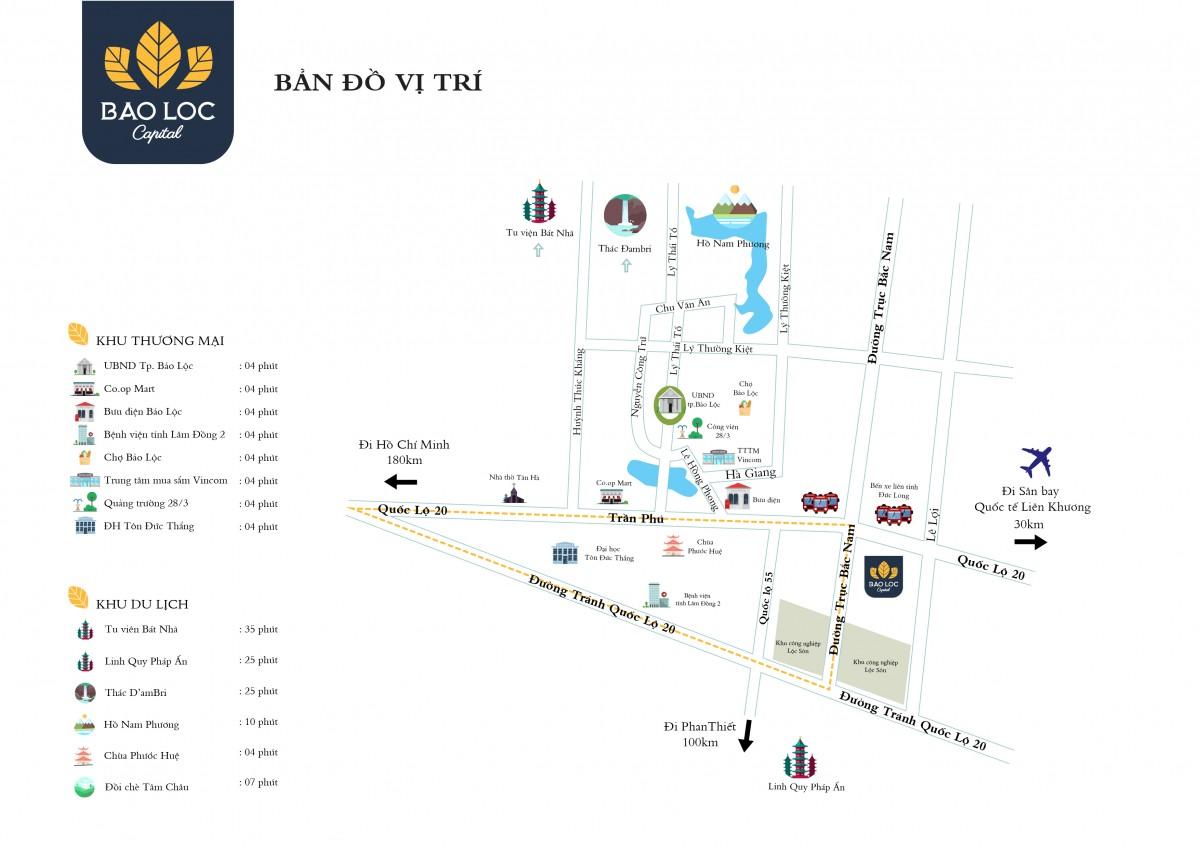 bản đồ vị trí dự án và các tiện ích liền kề dự án Bảo Lộc Capital