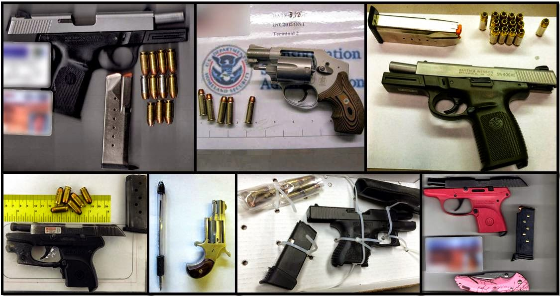 Clockwise from top left, firearms discovered in carry-on bags at: PHX, LAX, BNA, PHX, CMH, OMA & TUL