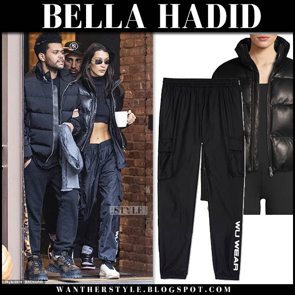 Bella Hadid in black lamarque iris puffer jacket and black track pants wu wear celebrity winter street style november 5