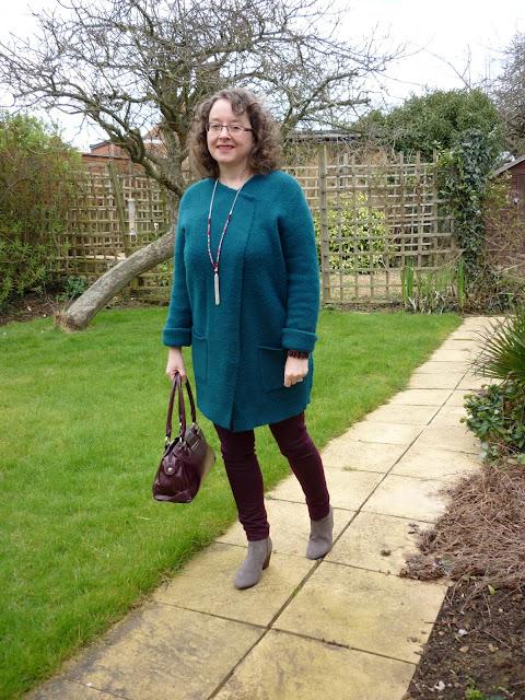 Teal Coatigan, Dorothy Perkins Skinny Jeans & Tassel Necklace, Boden Boots | Petite Silver Vixen