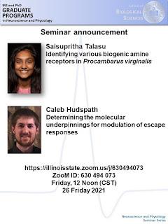 "Seminar announcement poster featuring Saisupritha Talasu is presenting ""Identifying various biogenic amine receptors in Procambarus virginalis"""