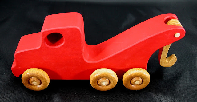 Handmade Wooden Toy Tow Truck From The Quick N Easy 5 Truck Fleet - Red Version - Top Left View