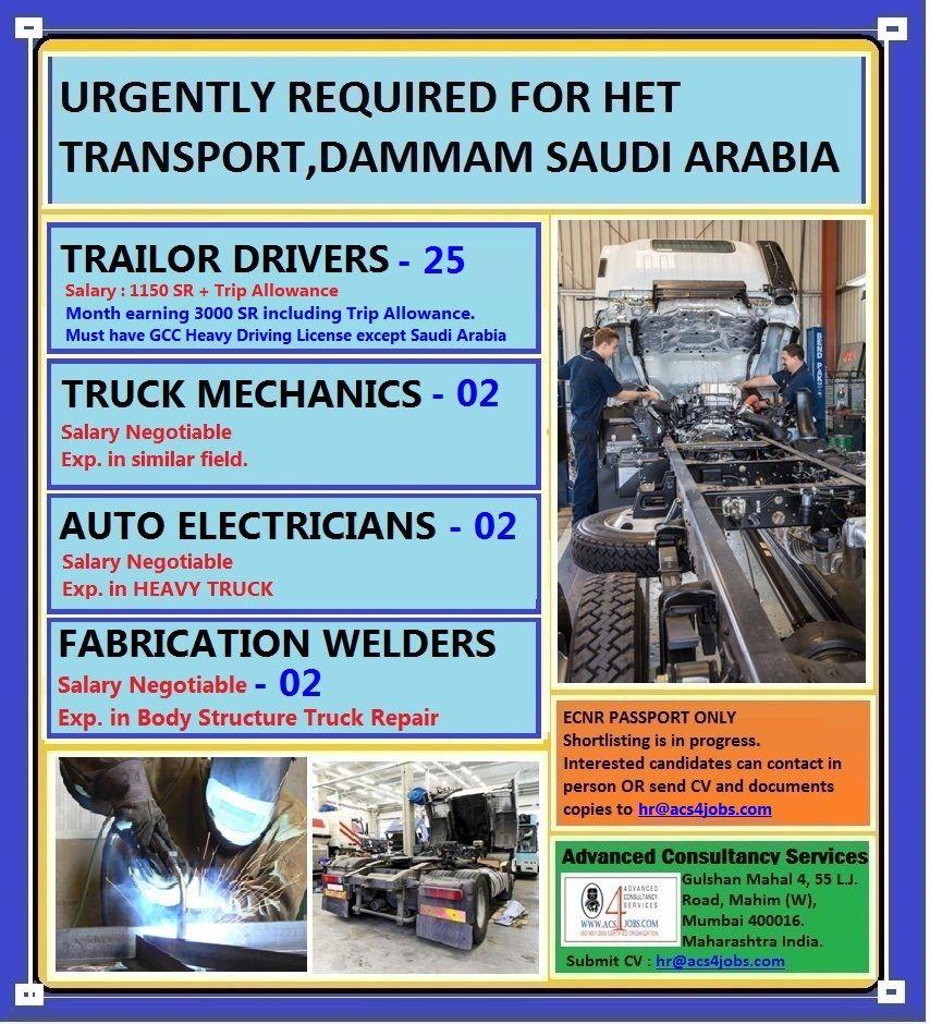 Urgently required for Het Transport in Dammam, Saudi Arabia